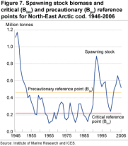 Spawning stock biomass and critical (Blim) and precautionary (Bpa) reference points for North-East Arctic cod. 1946-2006