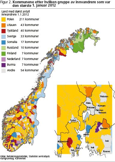 kart over norske byer Innvandrere i bygd og by   SSB kart over norske byer