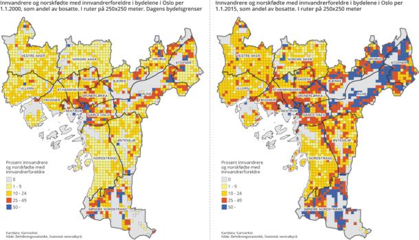 bydelsgrenser oslo kart Innvandrere på Oslo kartet   SSB bydelsgrenser oslo kart