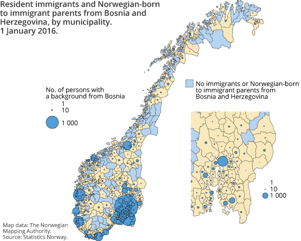 Figure 3. Resident immigrants and Norwegian-born to immigrant parents from Bosnia and Herzegovina, by municipality. 1 January 2016