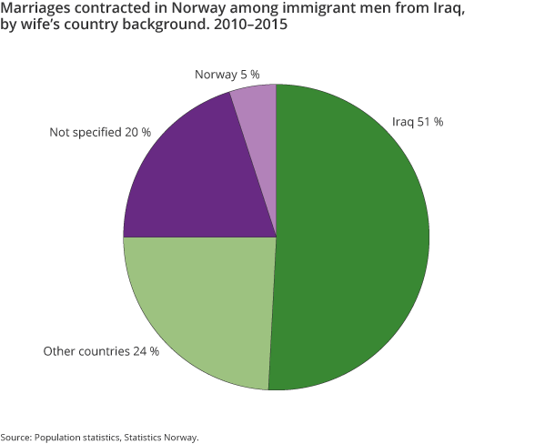 Figure 8. Marriages contracted in Norway among immigrant men from Iraq, by wife's country background. 2010–2015
