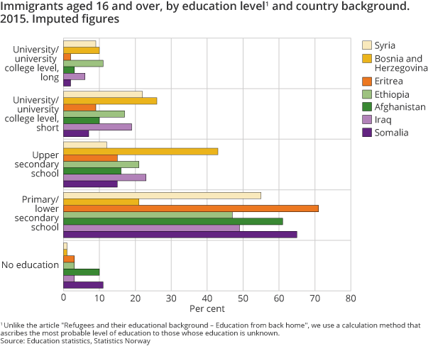 Figure 10. Immigrants aged 16 and over, by education level1 and country background. 2015. Imputed figures