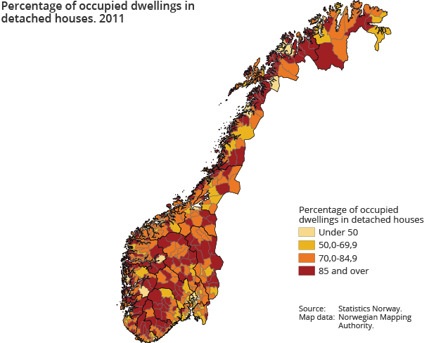 Percentage of occupied dwellings in detached houses. 2011