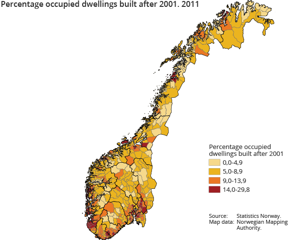 Population And Housing Census Dwellings SSB - Norway map population density
