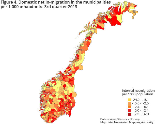 Figure 4. Domestic net In-migration in the municipalitiesper 1 000 inhabitants. 3rd quarter 2013