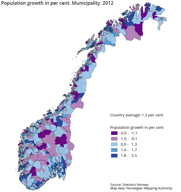 Population growth in per cent. Municipality. 2012