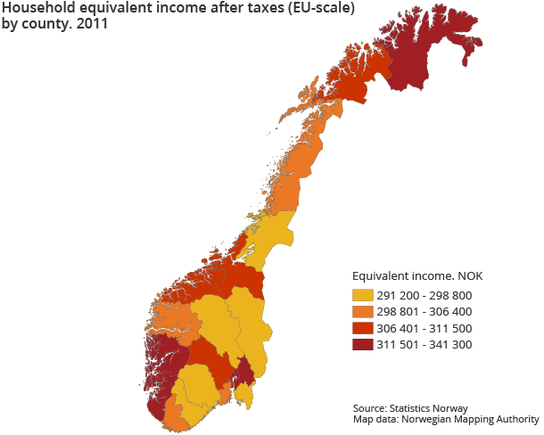 Household equivalent income after taxes (EU-scale) by county. 2011