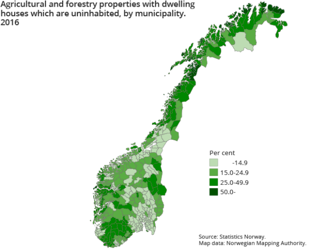 Figure 1.  Agricultural and forestry properties with dwelling houses which are uninhabited, by municipality. 2016