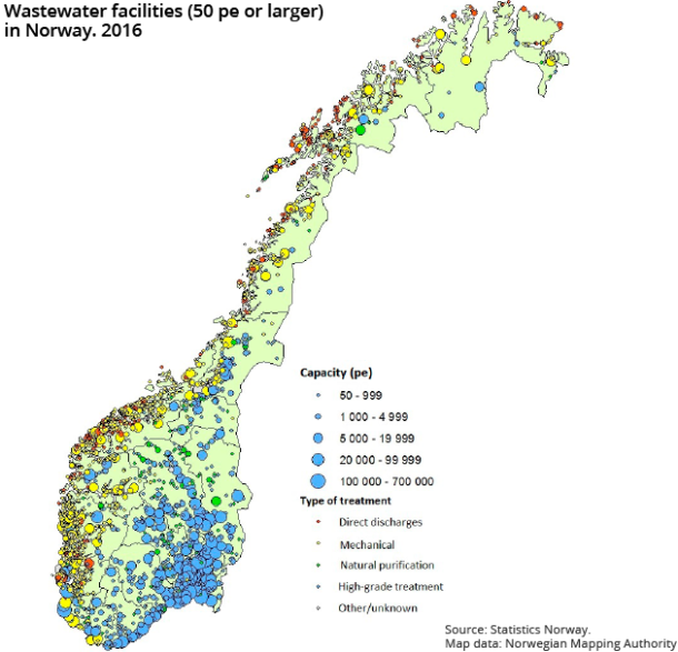Figure 1. Wastewater facilities (50 pe or larger) in Norway. 2016