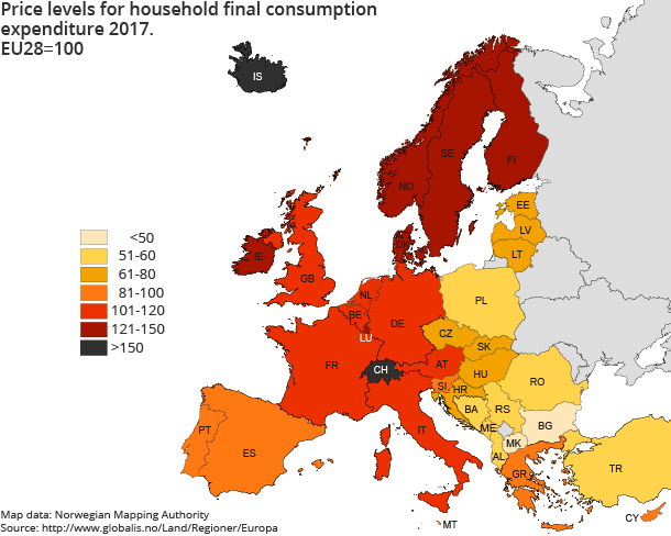 Price levels for Household final consumption expenditure 2017. EU28=100
