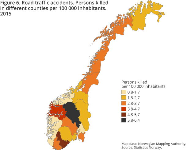 Road traffic accidents. Persons killed in different counties per 100 000 inhabitants. 2015